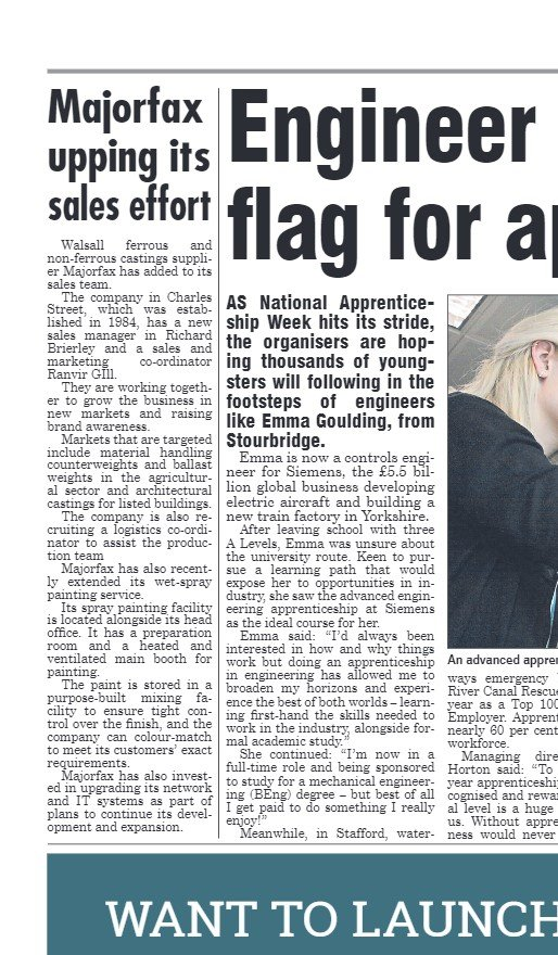 Majorfax Upping its Sales Effort - Express & Star